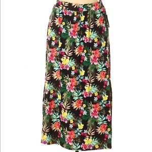 NWT Terra and Sky Floral Print Maxi Skirt 0X
